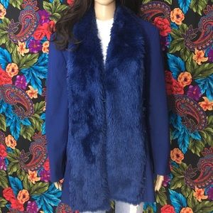 Faux Fur Blazer Women's Coat Blue Fox Fur Jacket